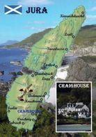 1 Map Of Scotland * 1 Ansichtskarte Mit Der Landkarte Der Insel Jura - Im Kl. Bild Der Hauptort Craighouse * - Cartes Géographiques
