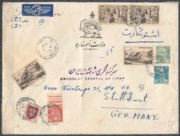 1951 - Air Mail Cover - Fron Consulat Of Iran In Paris To Consulat Of Iran In Stuttgart, Geremany - Documents De La Poste