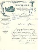 Facture Quincaillerie Fer Métaux Articles De Ménage Durand Daupleix à Ligny (Meuse ) En 1902 - France