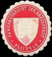 Plauen/Vogtland: Gewerbegericht Der Kreisstadt Plauen/Vogtland Siegelmarke - Cinderellas