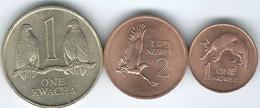 Zambia - 1983 - 1 Ngwee (KM9a) 2 Ngwee (KM10a) & 1 Kwacha - 1989 (KM26) - Zaire (1971-97)