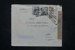 ESPAGNE - Enveloppe En Recommandé De Barcelone Pour Alger En 1943 Avec Censure - L 26591 - Marcas De Censura Nacional