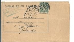 """Lettre Chemins De Fer D'Orléans Avec Semeuse Perforée """"PO"""" Pour Paris-Orléans, 1905 - France"""