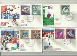 Monaco   JO 1968 Mexico 4 FDC 29.4.68 Gymnastique Hockey S Gazon Lutte Water Polo Hauteur Poids - Zomer 1968: Mexico-City
