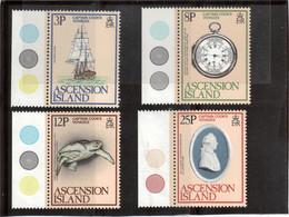 V19 - Ascension Island - 238/241** MNH - CAPTAIN COOK'S VOYAGES - Résolution/Chronomètre/Tortue/Portrait Médaillon - Timbres