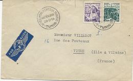 LETTRE PAR AVION 1956 AVEC TIMBRES ET CACHET PREMIER JOUR SITES MONUMENTS DE TUNISIE - Tunisia (1888-1955)