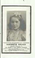 Doodsprentje - Oorlogsslachtoffer-dochtertje -geb 1935 Te Isegem , Gest 1944- Margrietje Verlinde - Devotieprenten
