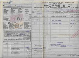 Timbre Fiscal Sur Connaissement  Du Havre  à  Bordeaux   1933 - Fiscali
