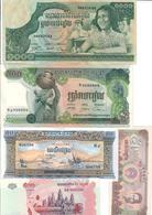 Cambodia Lot 5 Banknotes UNC .C3. - Cambogia