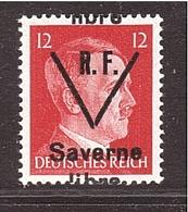 WWII RF Variétété Saverne Surcharge à Cheval Sur 12pf. ** - Libération