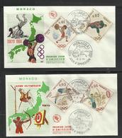 Monaco JO 1964 Tokyo 2 FDC Judo Haltères Tir Arc Saut Perche - Zomer 1964: Tokyo