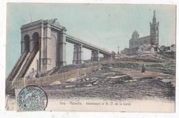 Carte Postale  Marseille Ascenseurs Et Notre Dm De La Garde - Notre-Dame De La Garde, Funicolare E Vergine