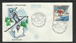 Monaco JO 1968 Grenoble  FDC  Ski Skieur - Winter 1968: Grenoble