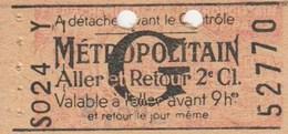 Ticket  De Metro S024 Bel Etat - Subway