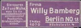 Berlin: Willy Bamberg Reklamemarke - Cinderellas