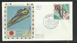 Monaco JO 1972 Sapporo  FDC  Ski Skieur Ref 10 - Winter 1972: Sapporo