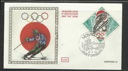 Monaco JO 1972 Sapporo  FDC  Ski Skieur Ref 22 - Winter 1972: Sapporo
