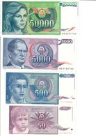 Yugoslavia Lot 4 Banknotes UNC/AUNC .C3. - Jugoslavia