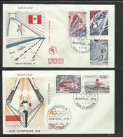 Monaco JO 1976 Montreal 2 FDC  Boxe Aviron Natation Gym Barres Lancer Marteau  Ref12 - Zomer 1976: Montreal