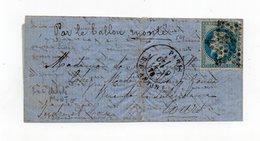 !!! PRIX FIXE : BALLON MONTE LE GARIBALDI CERTAIN POUR TOURS, TEXTE INTERESSANT - Guerra De 1870