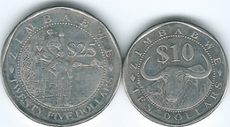 Zimbabwe - 2003 - 10 Dollars (KM14) & 25 Dollars (KM15) - Zaïre (1971-97)