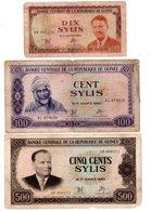 LOT SET SERIE 3 BILLETS RÉPUBLIQUE DE Guinée  / GUINEA SYLIS 10 100 500 1971 1980 - Guinea
