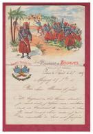 FRANCE --LETTRE DE CANTINIERE -- 4° ZOUAVE -- LETTRE ECULEE A L'ENDROIT DU PLI -- - Historical Documents