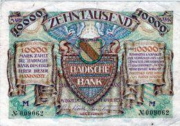 Billet Allemand De 10000 Mark Badische Bank Le 1 Avril 1923 En T T B + - - [ 3] 1918-1933 : República De Weimar