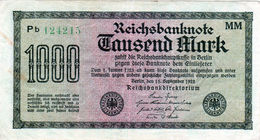 Billet Allemand De 1000 Mark Le 15 Septembre 1922 - En T T B - [ 3] 1918-1933 : Repubblica  Di Weimar