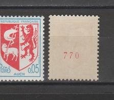 FRANCE / 1966 / Y&T N° 1468b ** : Blason D'Auch (roulette Avec N° Rouge) - Gomme D'origine Intacte - Francia