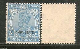 India CHAMBA State 3As KG V Postage Stamp SG 70 / Sc 67 1v MNH - Chamba