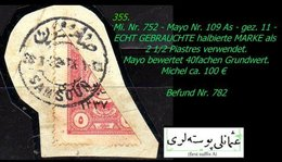 EARLY OTTOMAN SPECIALIZED FOR SPECIALIST, SEE...Mi. Nr. 752 - Mayo 109 As - Halbierung -R- - 1920-21 Anatolie