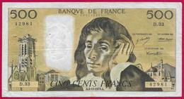 Billet De La Banque De France - Coupure De 500 Francs - Type Pascal - Année 1973 - 1962-1997 ''Francs''