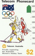 TARJETA TELEFONICA DE AUSTRALIA, BARCELONA 1992 - Women's Hockey (N91041-1-2). AUS-M-048a. (099) - Jeux Olympiques