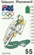 TARJETA TELEFONICA DE AUSTRALIA, BARCELONA 1992 - Cycling (N91043-2-4). AUS-M-051c. (101) - Jeux Olympiques