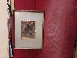 Magnifique  Tableau Gouache Originale Signe Adrienne Jouclard Representant Un Combat De Boxe - Lithographies