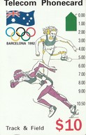 TARJETA TELEFONICA DE AUSTRALIA, BARCELONA 1992 - Track & Field (N91044-3-3). AUS-M-052b. (097) - Jeux Olympiques