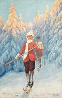 MORGINS - Skieurs, Carte Illustrée Par F.K. Hrun. - VS Valais