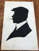 Silhouette ~ Original ~ Gentleman With Cap And What Looks Like Toothpick In Mouth - Silhouette - Scissor-type