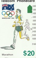 TARJETA TELEFONICA DE AUSTRALIA, BARCELONA 1992 - Marathon (91045-4-2). AUS-M-053a. (103) - Juegos Olímpicos