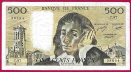 Billet De La Banque De France - Coupure De 500 Francs - Type Pascal - Année 1978 - 1962-1997 ''Francs''