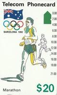 TARJETA TELEFONICA DE AUSTRALIA, BARCELONA 1992 - Marathon (91045-4-3). AUS-M-053b. (104) - Juegos Olímpicos