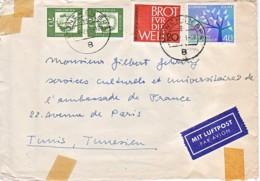 ALLEMAGNE : 1963 - Lettre Par Avion Pour L'ambassade De France En Tunisie - BRD