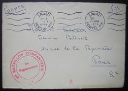Maroc 1958 Kénitra Lettre En FM Avec Cachet Rouge 27eme Bataillon D'infanterie, Docteur Tribalat Médecin Capitaine - Morocco (1956-...)