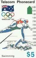 TARJETA TELEFONICA DE AUSTRALIA, BARCELONA 1992 - Swimming (N91042-2-4). AUS-M-050c. (102) - Jeux Olympiques
