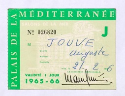 Entrée Casino Palais De La Méditerranée Nice Validité 1jour 21 Février 1966 Prix 3 Francs - Tickets D'entrée