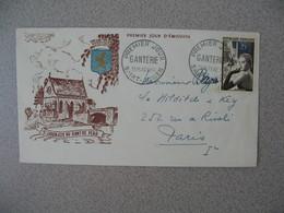FDC France  26/3/1955 N° 1020  Elégante Devant Les Fontaines De L'Obélisque  Cachet La Ganterie Saint-Junien Pour Paris - 1950-1959