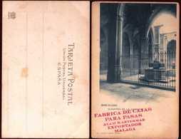 Girostamps54.-BARCELONA. POSTAL DE HAUSER Y MENET CON PUBLICIDAD DE CAJAS PARA PASAS DE MÁLAGA.CLAUSTRO DE LA CATED - Barcelona