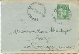 LETTRE 1939 AVEC TIMBRE A 90 CT AU TYPE PAIX ET CACHET HOROPLAN DE ENTRAIN S/ NOHAIN - NIEVRE - - Postmark Collection (Covers)