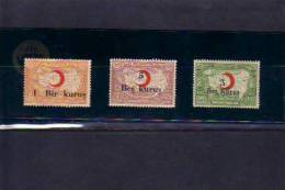 1932-1933-1934 TURKEY SURCHARGED TURKISH LEAGUE OF THE RED CRESCENT CHARITY STAMPS MINT WITHOUT GUM - 1921-... République